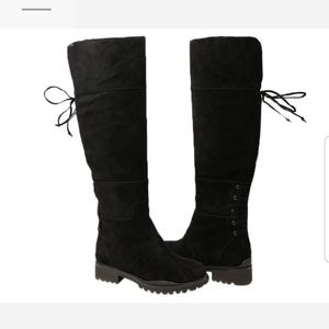 Knee high flat suede boots